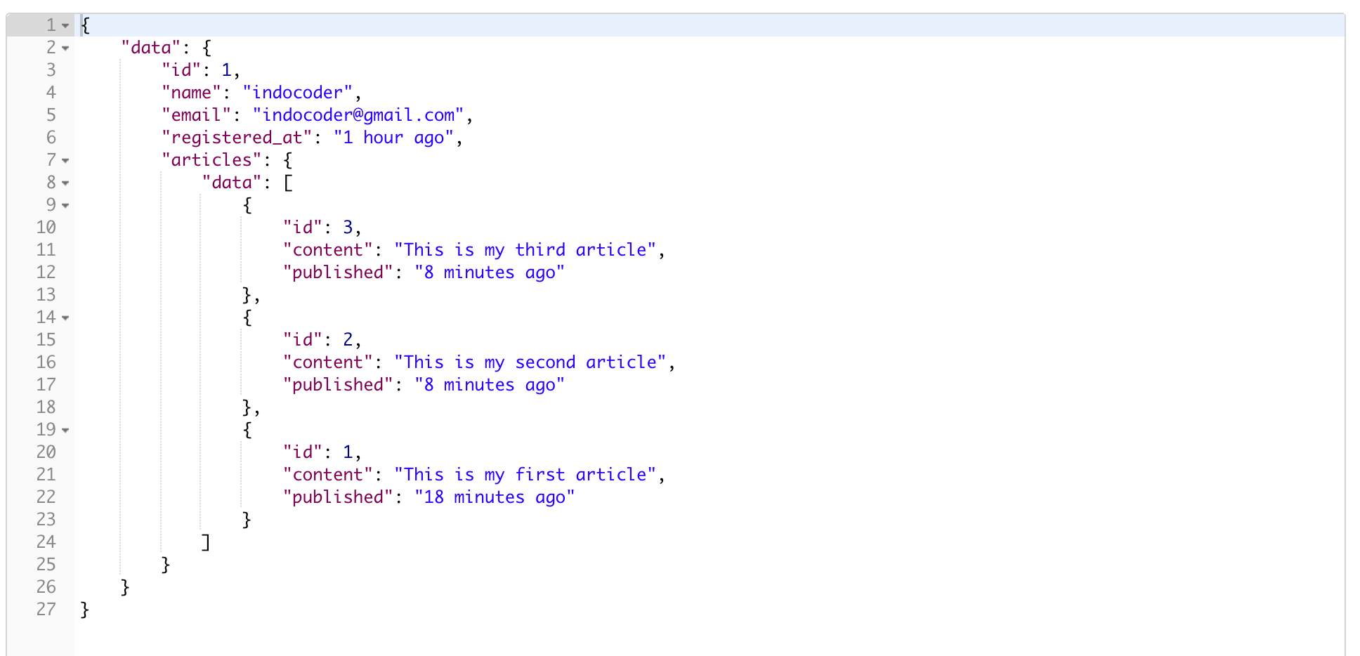 Laravel 5.7 API Include Article Order By ID Desc